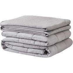 """새로운 디자인은 승진시킨다 잠 침대 담요에 의하여 진행된 유리 구슬 무겁게 한 담요 100%년 면 냉각 덮개를 회색 15lbs 48X72 """""""