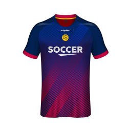 4XL de haute qualité fait sur mesure à bon marché authentique Bleu Rouge maillots de l'équipe de soccer en vrac