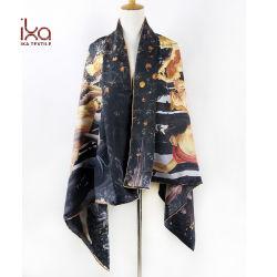Grande scialle di seta della sciarpa delle signore della saia stampato abitudine lunga di formato 100%