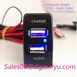 Lader van uitstekende kwaliteit van de Haven USB van de Auto de Dubbele + AudioInput voor de Adapter 5V 2.1A+1A van de Lader van de Auto van Toyota Vigo