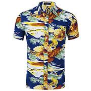 Kundenspezifischer heißer Verkauf gedruckte Baumwollhawaii-beiläufige kurze Hülsen-Hemden für Man Heißer Verkaufs-Großverkauf-Form-Hersteller