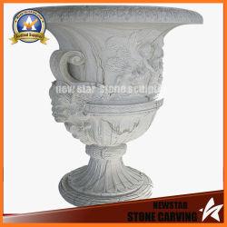 El tallado de piedra de mármol blanco barato Maceta soporte para la decoración de jardín (NS-11P14)