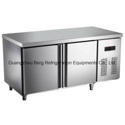 acier inoxydable en vertu de comptoir commercial Réfrigérateur avec la roulette