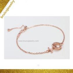 Регулируемый сдвижной цепь 18K ювелирных украшений с золотым покрытием моды серебряный браслет с кубической обедненной смеси