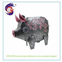 El Cerdo de metal mayorista Folwer Jardín de Luz solar la olla de artesanía