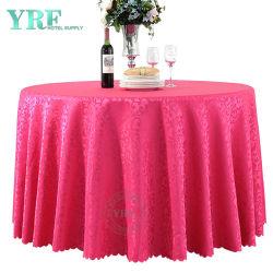 Red Round Damask Jacquard Fabric Table Doek