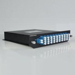 Chasis de montaje en rack 1U Gaussian atérmico AWG Módulo Wdm100g DWDM 40CH Mux pasiva Demux 100GHz 40 canales