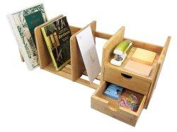 منظم مكتب بامبو طبيعى مع تخزين قابل للمد ودارين للمكتب والمنزل ومكتب قابل للتوسيع ومرتب من خشب الخيزران