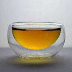 10 35ml de Mini Met de hand gemaakte Hittebestendige Dubbele Kop van de Thee van het Glas van de Muur PCS/Lot Duidelijke/Mok