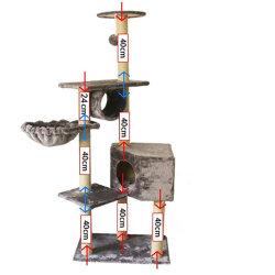 Un albero rampicante del 2021 dell'OEM dell'animale domestico dei prodotti della fabbrica di disegno del rifornimento della peluche del condominio di legno su ordinazione dell'animale domestico della torretta del castello della mobilia del gatto di Scratcher di albero della Camera della torretta accessorio dei gatti