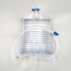 Válvula de la Cruz 2000ml de orina Orina desechable Bolsa Bolsa de drenaje con T-válvula