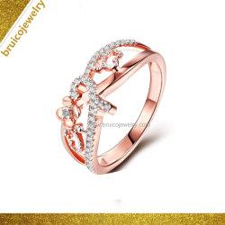 2019 namen de In het groot Vrouwen van de Manier Gouden Geplateerde Juwelen 925 Echte Zilveren Ring met Diamant toe