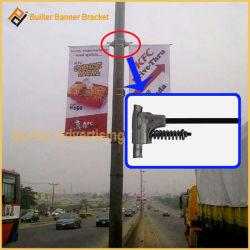 Poste de luz exterior Banner cargado por resorte soporte de aluminio