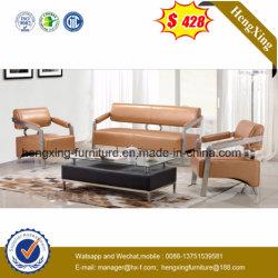 Châssis en acier de métal en cuir véritable Home Hôtel Bureau Meubles Sofa (HX-CS052)