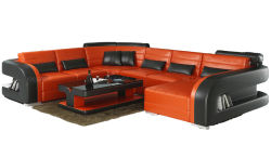 方法U形のコーナーのソファーオレンジおよび黒い米国によっては家具が家へ帰る