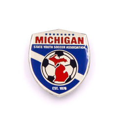 Bouton d'étain de soccer en émail doux d'un insigne d'honneur de vêtements de protection de la taille de citations
