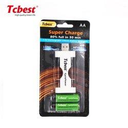 기본 배터리 CE RoHS MSDS SGS 인증서 새 USB AA 2800m1.5V 리튬 충전식 배터리(Power Banks 노트북용