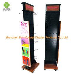 Kundenspezifischer POS/Pop Fußboden-stehendes drehendes Metall doppelseitiges Pegboard trifft Ausstellungsstand hart