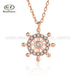 新しいデザイン純銀製の宝石類のマイクロジルコニアの鎖骨の鎖のネックレス