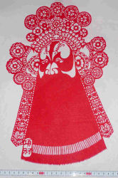 Het Chinese VolksKnipsel van het Document van Kunsten en van Ambachten - Guanyin Boedha, Chinese Volks Gesneden Kunsten en Ambachten - De het gezicht-Net van de Opera van Peking Rol
