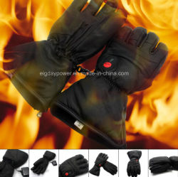 Salvatore Leather Heated Glove per Outdoor Sport, Winter Use, Ski, Hunting, Cycling, Motobike, Riding, Golf, Fishing, Full Real Leather Design