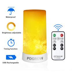 Efecto de llama LED USB luz de la batería recargable operado de la luz de la llama de la luz de la chimenea con temporizador remoto regulable impermeable 4 modos sin Flama luz de velas