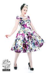 Weiße purpurrote Pansies-Blumenschwingen-Kleid