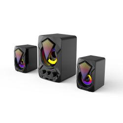 2.1コンピュータおよびラップトップのためのSubwoofer RGBの効果のUSB動力を与えられたデスクトップの小型スピーカー