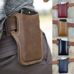 حقيبة حزام الخصر الخاصة بحقيبة الهاتف المحمول للرجال PU علبة هاتف جلدية