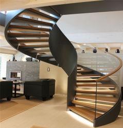 モダンハウス室内炭素鋼ガラスレールカーブした階段