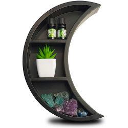 블랙 문 선반 - 나무 부동 선반 쉽게 걸기 침실 거실 욕실 보육시설을 위한 세련된 문벽 장식 또는 Crystals 또는 용 주방 디스플레이 선반용