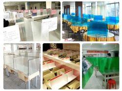 Acrylempfang-Schreibtisch-Kostenzähler-Haustier PC Polycarbonat-Plastikschild-Niesen-Schutz mit Standplatz für Service-Kostenzähler
