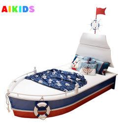 공장 주문 제작 퍼니튜릴 솔리드 우드 어린이 침대 및 가드레일이 있습니다 독창적인 나피 보트 모양의 싱글 베드 디자인