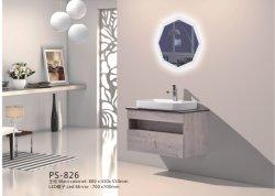 PVC Paint Free aan de muur gemonteerd Type Badkamer kast meubilair met Keramisch keramisch bassin met zwarte kunststeen en LED-spiegel