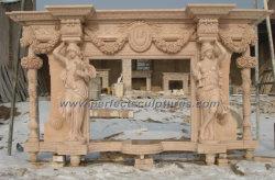 Luxuxskulptur-schnitzender Kaminsims-Einfassungs-Marmorkamin mit geschnitzter Spalte-Blumen-weiblicher Statue (QY-LS136)