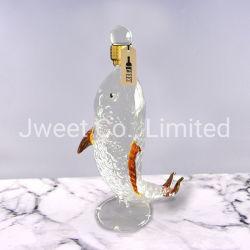 Pesci fatti a mano su ordinazione del mestiere bottiglia di vetro a forma di del liquore