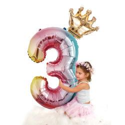 2pcs 32 pulgadas de la lámina de número de arco iris de Globos de Aire Los Globos de Fiesta de cumpleaños de niños adornos de oro rosa de plata Rosa Azul 0-9 dígitos Ball
