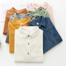 Frauen-Kordsamt-Sprung-beiläufige Blusen-einfache Hochschulart-Hemden