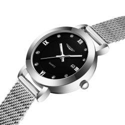 Minimalista Europa mujer reloj de pulsera de diamantes de lujo señoras reloj de moda plata