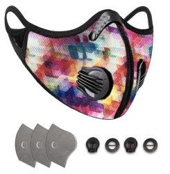 Máscara facial de moda Camo impressos de segurança desportiva Smog Anti máscara de pó reutilizável lavável máscara facial com filtro e respirável Máscara de treinamento da Válvula