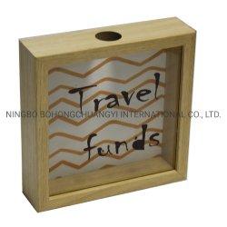Cornice oro Shadow Box Adulti Piggy Bank decorativo cornice in legno, Banca moneta denaro