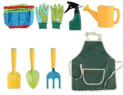 Juego de 8pcs herramientas de jardinería para niños con una bolsa de jardín Bolsa de mano regadera lata de pala Rake Fork Guantes delantal todos En un solo juego