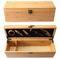 1つのびんのワインの記憶のケースのためのカスタムタケ木のワインのウィスキーの包装ボックス