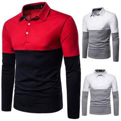 Camicia di polo Assorted manicotti lunghi del cotone di colori dei nuovi uomini di stile