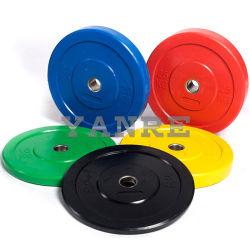 Il respingente rivestito di gomma di sollevamento di peso di colore di Crossfit della strumentazione di forma fisica di ginnastica placca il piatto del Barbell