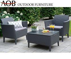 陶磁器のガラス表が付いている屋外の庭の藤の家具の単一の藤の柳細工のソファー