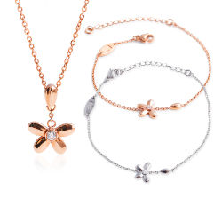Bijoux en acier inoxydable 316L Five-Leaf Collier Bracelet Set