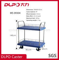 Het Platform die van Dlpo de Industriële Kar van de Hand van de Duw van het Karretje van het Metaal van de Lading van de Opslag Plastic Rolling