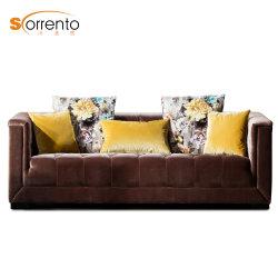 Sala de estar em veludo italiano Novo projeto 3 Lugares clássica / América do sofá para sala de estar