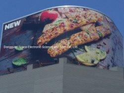 屋上の屋外のカーブした回転 Prisma 広告の三者広告掲示板